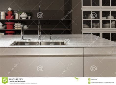 marble kitchen sink top marble top kitchen sink stock photo image 60660569
