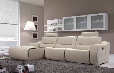 White Leather Reclining Sectional Sofa by White Leather 2143 Modern Reclining Sectional Sofa By Esf