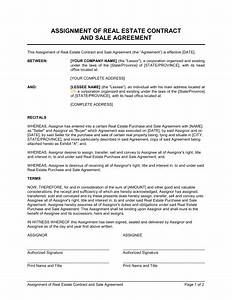 assignment of real estate contract and sale agreement With contract for sale of land template