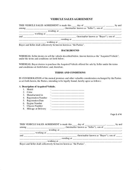 purchase  sale agreement templates word