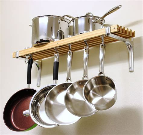 "Pot Rack Wooden Shelf Wall Mount 36""x8"" Cookware Kitchen"