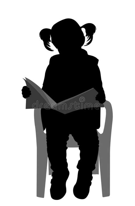 Little Girl Reading A Book Silhouette Stock Vector - Image