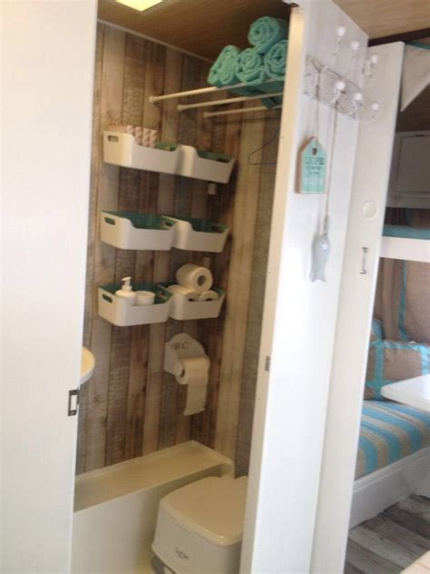 tiny bathroom ideas container basket shelves happy