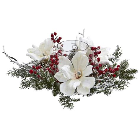 artificial plants for home nearly frosted magnolia and berry artificial 4188