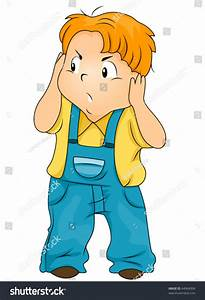 Annoyed Child Covering His Ears - Vector - 44964004 ...