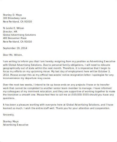 Letter of Resignation 2 Weeks Notice Email