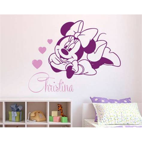 stickers minnie avec prenom decoration chambre gar 231 on