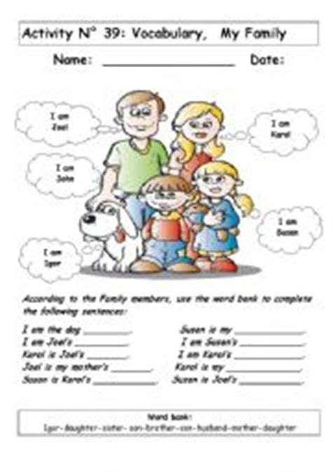 nuclear family worksheets family worksheet