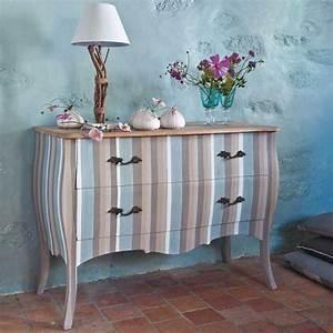 Commode À Peindre : commode rayures en manguier deco en 2019 mobilier de salon meubles peints et r nover ~ Carolinahurricanesstore.com Idées de Décoration