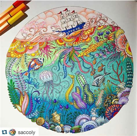images  lost ocean coloring book completed pages inspiration  pinterest