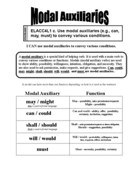 helping verbs worksheet fourth grade modal verb would