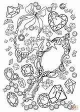 Coloring Mirror Pages Gemstones Vanity Printable Jewelry Supercoloring Games sketch template
