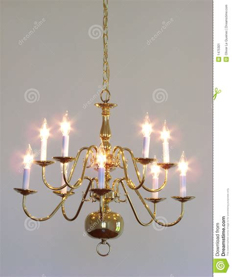 house interior brass dining room light chandelier stock