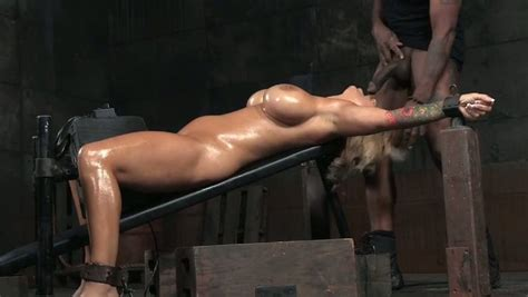 Juicy And Busty Blonde Cougar Oiled Up And Restrained For Bdsm Oral Sex Video