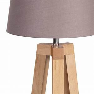 Abat Jour En Bois : lampe tr pied bois abat jour taupe scandinave lampe avenue ~ Dailycaller-alerts.com Idées de Décoration