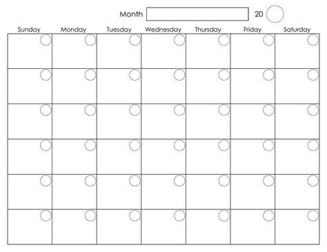 Blank Activity Calendar Template by Printable Blank Monthly Calendar Calendar Template