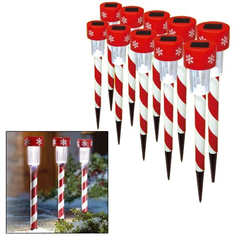 christmas solar walkway lights 10 x christmas xmas solar led stick lights outdoor garden