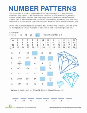 number patterns treasure hunt worksheet education