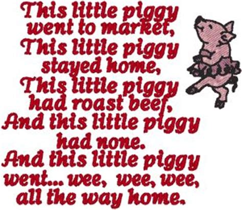 Little Piggy Nursery Rhyme by This Little Piggy Embroidery Design Nursery Rhymes