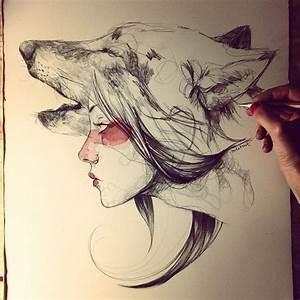 Tatouage Loup Graphique : pin by tania pocheptsova on art dessin loup dessin art ~ Mglfilm.com Idées de Décoration