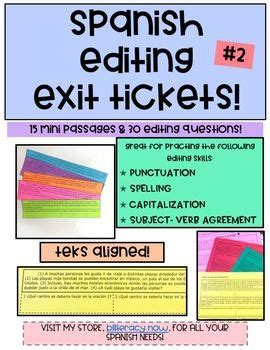 Students choose each correct or incorrect answer; Spanish Writing Editing Exit Tickets - 15 Mini Passages + 30 Questions #2 | Editing writing ...