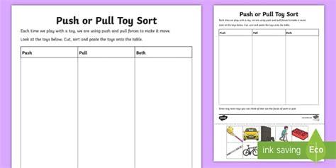 push  pull toy sort worksheet worksheet teacher