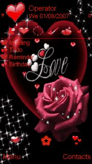 animated love heart red rose mobile themes  nokia