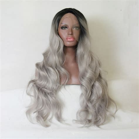 Ombre Grey Bodywave Synthetic Lace Front Wig Glueless Long
