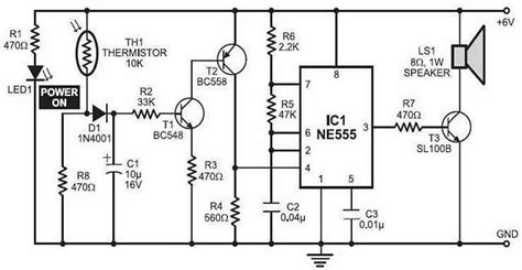 simple alarm with thermistor and ne555 circuit