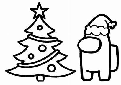 Among Coloring Christmas Pages Tree Yamato Printable
