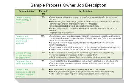 Sample Process Owner Job Description