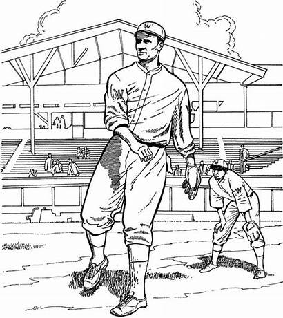 Baseball Coloring Field Pages Printable Player Getcoloringpages