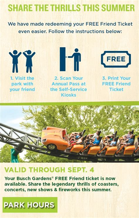 busch gardens annual pass busch gardens free friend pass season ticket holders get