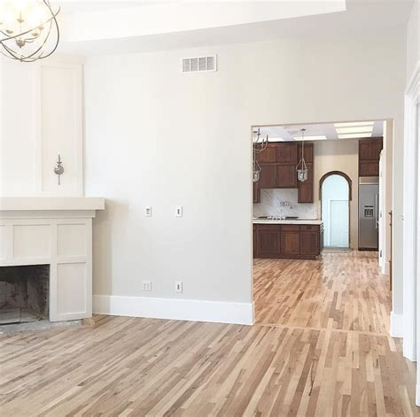 natural hickory floors with sherwin williams pearly white