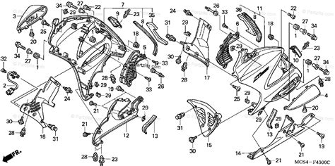 Honda Motorcycle Oem Parts Diagram For Lower Cowl