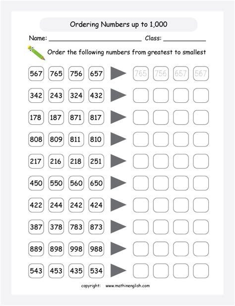 Order Numbers Up To 1,000 From Greatest To Smallest And Fill In The Boxes