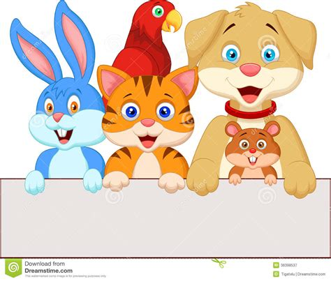 cartoon pet animals holding blank paper royalty  stock