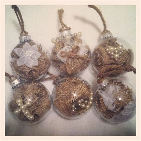 six rustic christmas ornaments with pearl embellishments