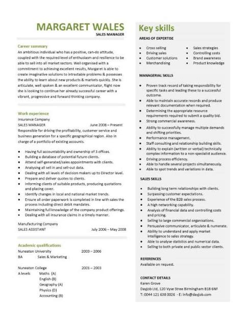 Curriculum Vitae Skills Sles by Sales Manager Cv Exle Free Cv Template Sales Management Sales Cv Marketing
