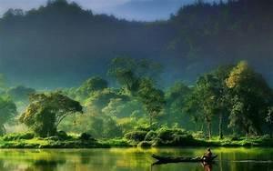 Nature, Landscape, Mist, Sunrise, Forest, River, Mountain, Indonesia, Green, Boat, Fisherman
