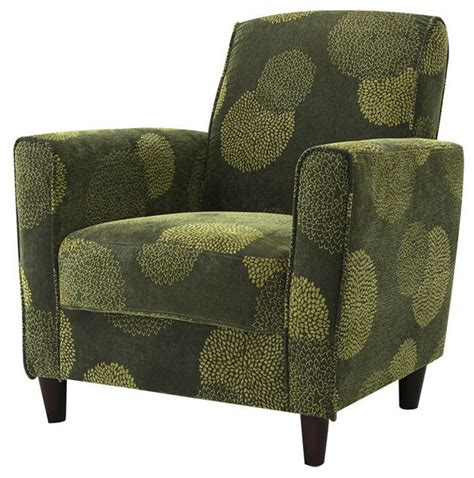 contemporary green fabric upholstered flared arm accent