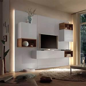 Tv Schrank Modern : fernseherwand in wei hochglanz eiche modern 9 teilig wohnzimmerschrank wohnwand anbauwand ~ A.2002-acura-tl-radio.info Haus und Dekorationen