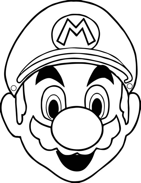 Halloween Masks Super Mario Face Coloring Page   Coloring