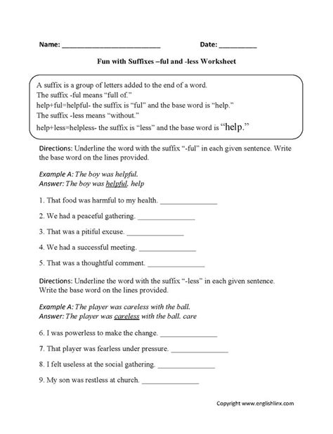 fun  suffixes ful   worksheets suffixes
