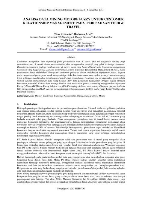(PDF) ANALISA DATA MINING METODE FUZZY UNTUK CUSTOMER
