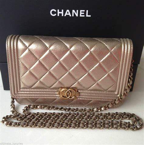 chanel gorgeous gold le boy bag woc wallet