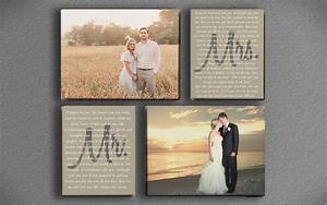 Wedding vow art mr and mrs with two photos printed