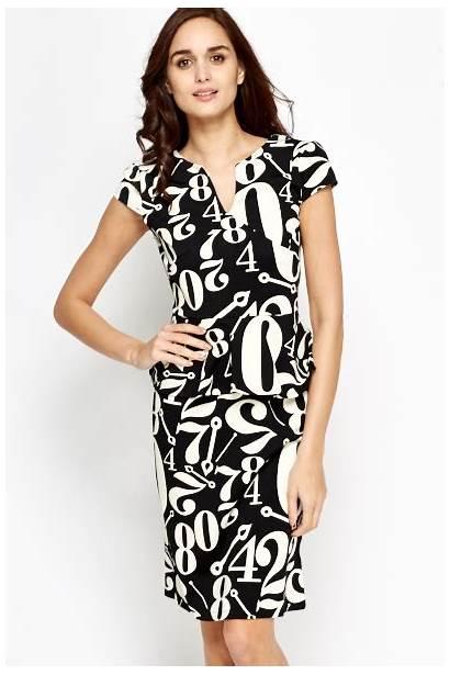 Peplum Number Mono Dresses Fullscreen
