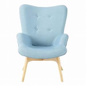 Fauteuil Scandinave Tissu : fauteuil scandinave en tissu bleu iceberg maisons du monde ~ Teatrodelosmanantiales.com Idées de Décoration