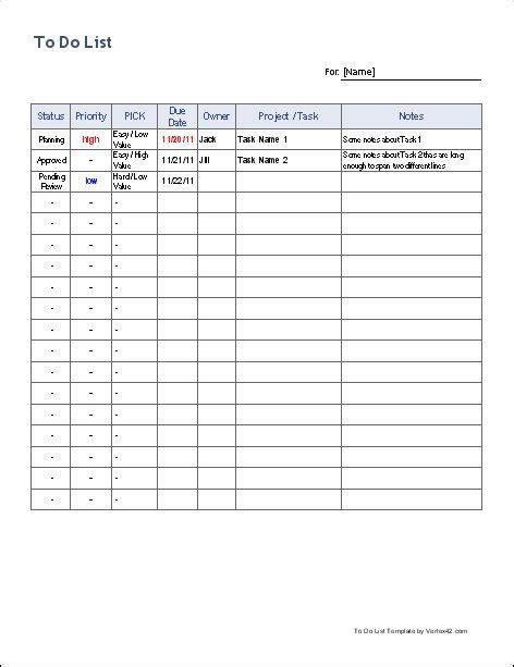list template  customizable spreadsheet